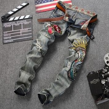 Men's Flower Cobra Design Patches Embroidered Jeans Men Casual Snake Pattern Hole Straight Fit Denim Vintage Jeans #803