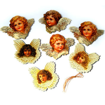 Christmas Ornaments , Vintage Victorian Angels Christmas Tree Ornaments , Set of 7 .