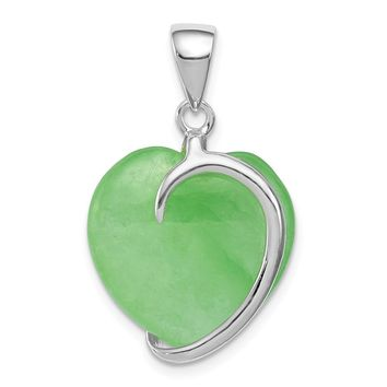 Sterling Silver Green Jade Heart Pendant
