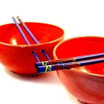 Two Red Rice Bowls with Chopsticks - Noodle Bowls / Sushi Oriental dishes SHIPS TODAY