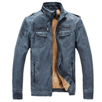 Men Lether Jackets Pu Leather Jaqueta Masculinas Inverno Couro Jacket Jaquetas De Couro Men's Waterproof Winter Leather Jacket