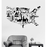 Vinyl Wall Decal USA Map United States Symbol Room Decor Stickers Unique Gift (ig3341)