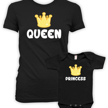 Mother Daughter Matching Shirts Mommy And Me Clothing Matching Family Shirts Gifts For Mom T Shirt Queen And Princess Bodysuit MAT-713-715