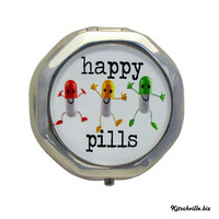 "Kitschville — Funny ""HAPPY PILLS"" Pill - Medication Case"