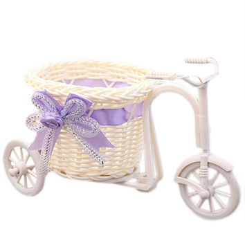 Handmade Rattan Weave Flower Basket Tricycle Bicycle Home Decoration Wedding Party Decoration Flower Holder