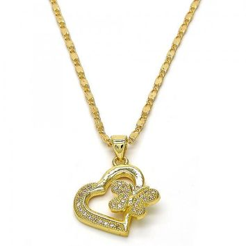 Gold Layered 04.199.0019.18 Fancy Necklace, Heart and Butterfly Design, with White Micro Pave, Polished Finish, Golden Tone