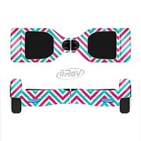 The Blue & Pink Sharp Chevron Pattern Full-Body Skin Set for the Smart Drifting SuperCharged iiRov HoverBoard