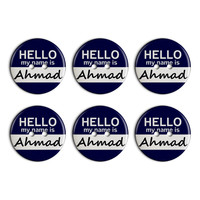 Ahmad Hello My Name Is Plastic Resin Button Set of 6