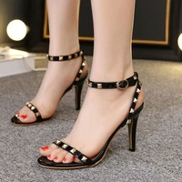 Simple Style Rivet PU Peep-toe Stiletto Heel Ankle Strap Sandals