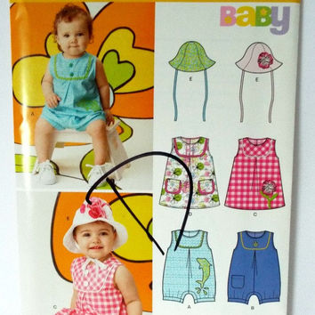 Baby Girl Bonnet Hat Romper Sunsuit Sewing Pattern Newborn S M L Simplicity 6111 New Uncut