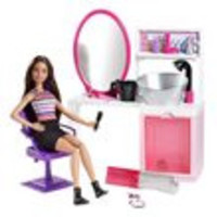 Barbie Sparkle Style Salon and Brunette Doll