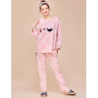 GUCCI x Peppa Pig co-branded women's autumn and winter models long-sleeved pajamas two-piece F0877-1 Pink