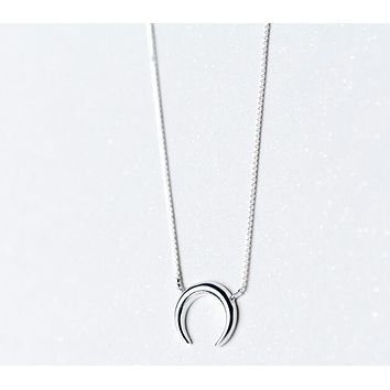 (very Tinny Small moon pendant) 100% Real. 925 Sterling Silver Fine Jewelry Polished Crescent Moon Necklace GTLX1431