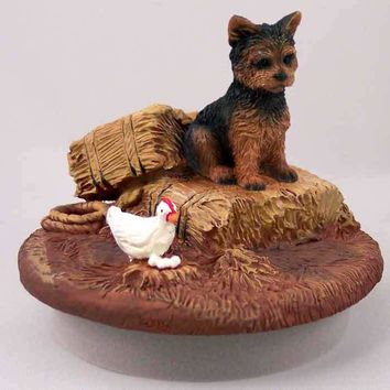"""YORKSHIRE TERRIER PUPPY CUT CANDLE TOPPER TINY ONE """"A DAY ON THE FARM"""""""