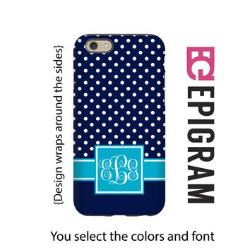 Monogram iPhone 6s case, navy small polka dots iPhone 6 plus case, iPhone 5c case, iPhone 5s case, gift for her, iPhone 6s plus case