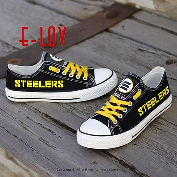 E-LOV Fast Delivery Black Canvas Shoes Pittsburgh Steelers Shoes USA Star Group Print Shoes Boy Men Fans Casual Shoes Gift