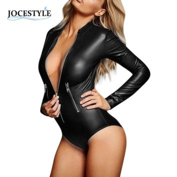 PU Leather Bodysuit Women Jumpsuit Faux Leather Skinny Bodysuit Catsuit Long Sleeve Playsuit Sexy Overalls For Women Jumpsuits