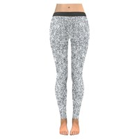 Silver Glitter All-Over Low Rise Leggings