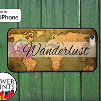 Wanderlust Vintage World Map Rainbow Compass Cool Accessory For Rubber iPhone 4 and 4s and iPhone 5 and 5s and 5c and iPhone 6 and 6 Plus +