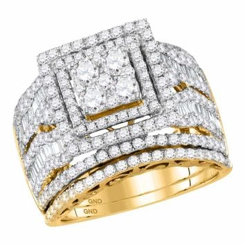 14kt Yellow Gold Womens Round Diamond Square Cluster Bridal Wedding Engagement Ring Band Set 2-5/8 Cttw
