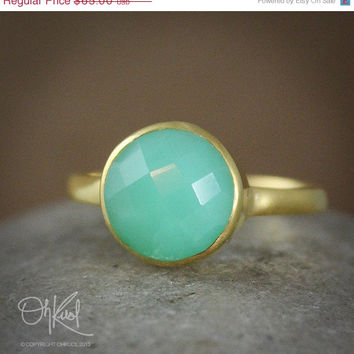 Valentines Day SALE Gold Mint Green Chrysoprase Ring - Round Stone Ring - Vermeil Gold