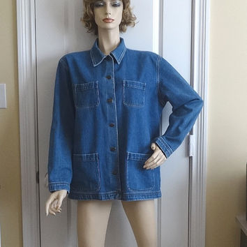 Early 1990s Vintage GAP Cotton Denim Lady's Jacket, Metal Buttons, Size Large, 4 Patch Pockets, Heavy Weight Denim, Vintage Clothing