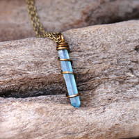 Aqua Aura Quartz Necklace - Blue Crystal Necklace - Aqua Aura Quartz Crystal Jewelry - Wiccan Necklace - Boho Jewelry - Bohemian Jewelry