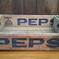 Vintage Pepsi Crate With Metal Strapping Natural Wood with Blue Lettering Southern Wooden Box Jonesboro Arkansas