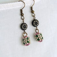 Tiny beaded bead earrings, beadwork earring