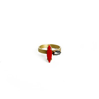 Double Stone Ring - Coral