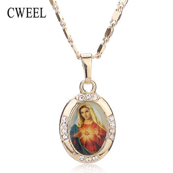 Women Men Cross Jesus Necklace Beads Jewelry Trendy Gold Color Pendant For Vintage New Statement Holiday Accessories