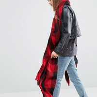 ASOS Lightweight Oversized Red Tartan Scarf at asos.com