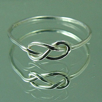 Silver Infinity Knot Ring Promise Ring Sister Mother Daughter Tie The Knot Ring