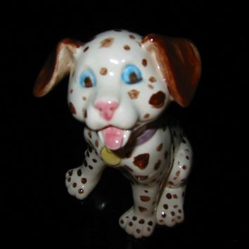 Polka Dot Ceramic Dog Hand Decorated Folk Art