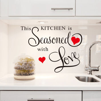 """Characters """"This Kitchen Is Seasoned With Love"""" PVC Removable Wall Sticker Decor For Kitchen SM6"""