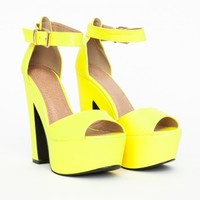 Missguided - Alana Platform Block Heels In Neon Yellow