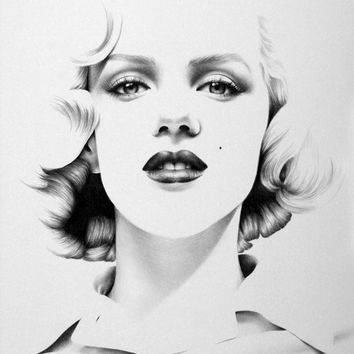 Marilyn Monroe Pencil Drawing Fine Art Portrait Print Hand Signed