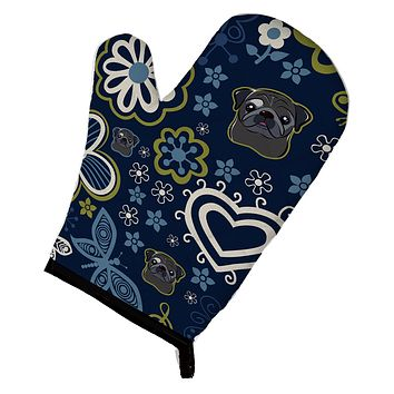 Blue Flowers Black Pug Oven Mitt BB5114OVMT