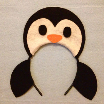 Penguin headband birthday party favors supplies costume invitation hat Christmas winter wonderland black white orange hat photo booth prop