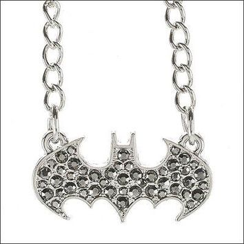 Batman Logo DC Comics Costume Pendant Bling Rhinestone Stone Necklace OFFICIAL