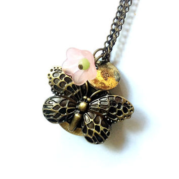 Butterfly Watch Necklace: butterfly pocket watch with flower bead, and disc charm with customized initial