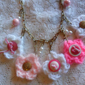 Bib Necklace, Button Necklace,Button Crocheted Flower Bib Necklace, Jewelry, Necklace, Pink Jewelry, Womens Jewelry