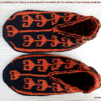 Turkish hand knitted men's black and burnt orange colour unique warm slippers, slipper socks.