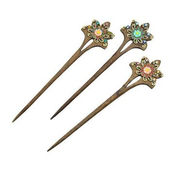 CREYONEJ Vintage Style Wood with Colorful Stone Flower Hair Stick