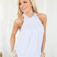 Immaculate High Neck Pleated Top in Lavender