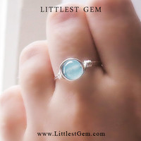 Blue Jade ring - unique rings - custom