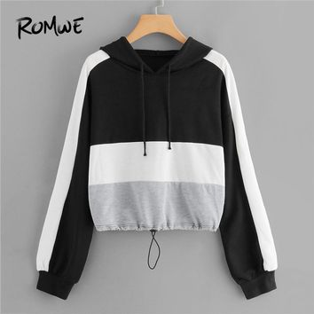 ROMWE Color Block Drawstring Hoodies Women Casual Womens Clothes 2018 Autumn Hooded Sporty Clothing Female Sweatshirts Pullover