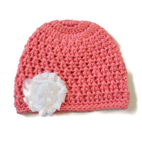 Newborn Baby Girl Hat Pink White Flower Beanie
