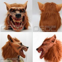Hot Halloween Creepy Adult wolf head latex Rubber Mask - Free Shipping