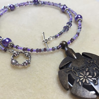 Beaded Yarn Cutter Necklace- Purple